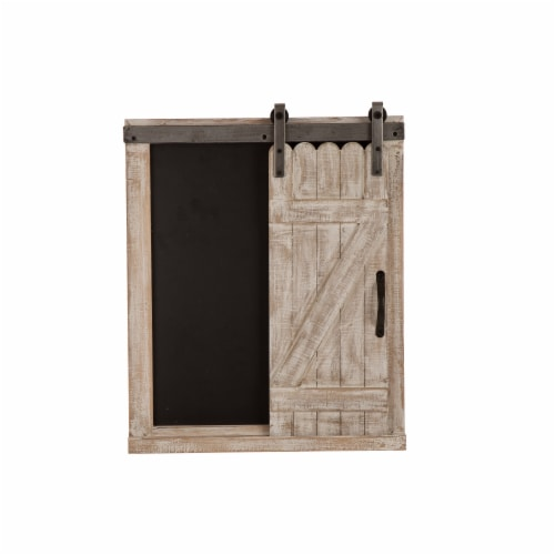 Glitzhome Farmhouse Barn Door Wooden Chalkboard Wall Decor Perspective: back