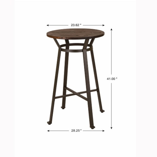 Glitzhome Rustic Steel with Elm Wood Pub Set Perspective: back