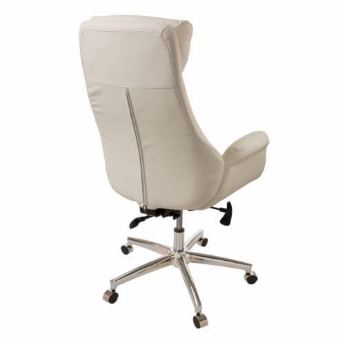 Glitzhome Mid-Century Modern Bonded Leather Gaslift Adjustable Swivel Office Chair - Cream Perspective: back