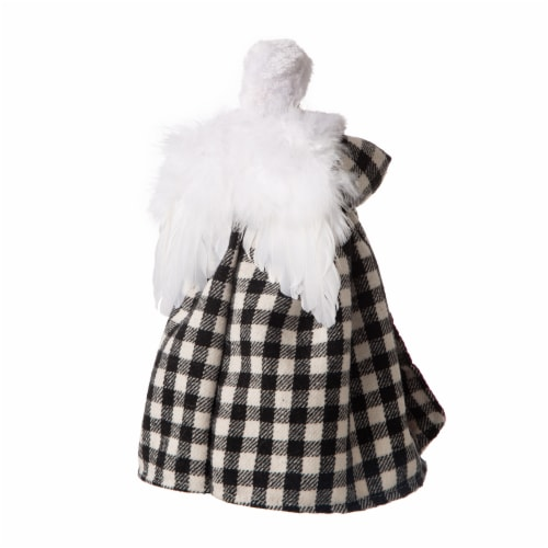 Glitzhome Plaid 3D Angel Figurine Tree Topper - Black/White Perspective: back