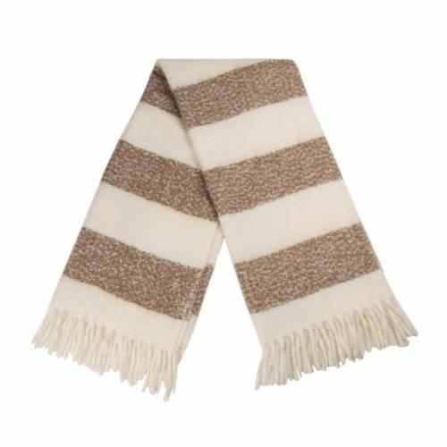 Glitzhome Woven Acrylic Striped Jacquard Tassel Throw Blanket - Tan Perspective: back