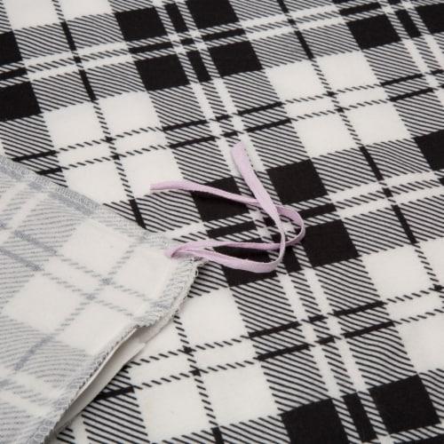 Glitzhome Polar Fleece Plaid Reversible Duvet Cover - Black/White Perspective: back