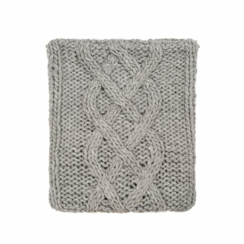 Glitzhome Handmade Acrylic Cable Knit Pillow Cover - Gray Perspective: back