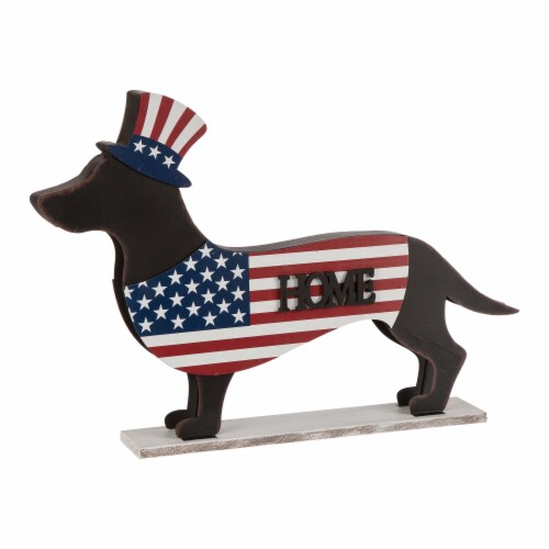 Glitzhome Patriotic Double-Sided Home & Welcome Dachshund Porch Sign Perspective: back
