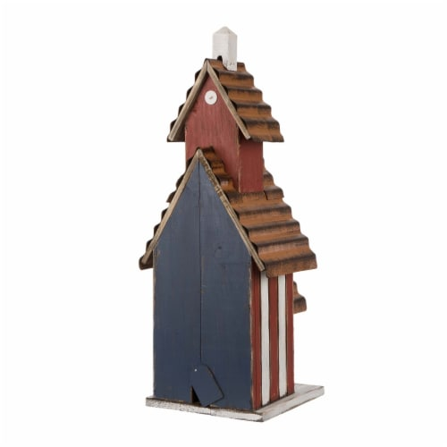 Glitzhome Oversized Wood & Rustic Metal Patriotic Birdhouse Perspective: back