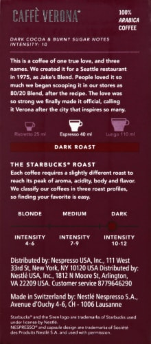 Starbucks by Nespresso Caffè Verona Ground Coffee Aluminum Capsules 10 Count Perspective: back
