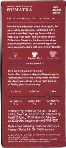 Starbucks by Nespresso Sumatra Single-Origin Ground Coffee Aluminum Capsules 10 Count Perspective: back
