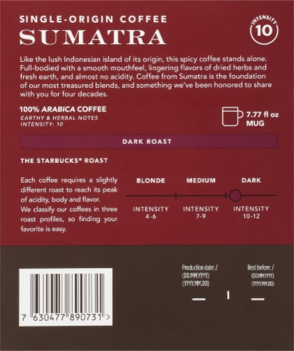 Starbucks Nespresso Sumatra Single Serve Coffee Capsules Perspective: back