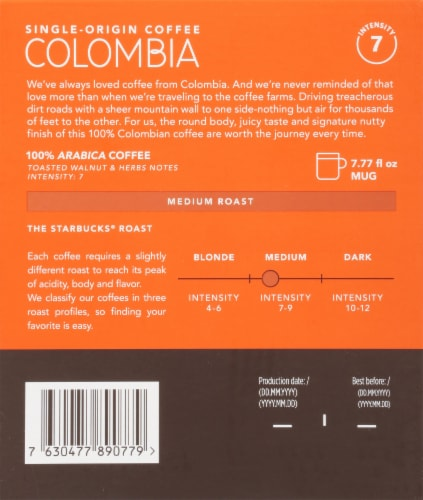 Starbucks Nespresso Colombia Single Serve Coffee Capsules Perspective: back