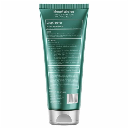 Mountain Ice Arthritis, Joint & Nerve Pain Relief Gel With Natural Ingredients, Tube Perspective: back