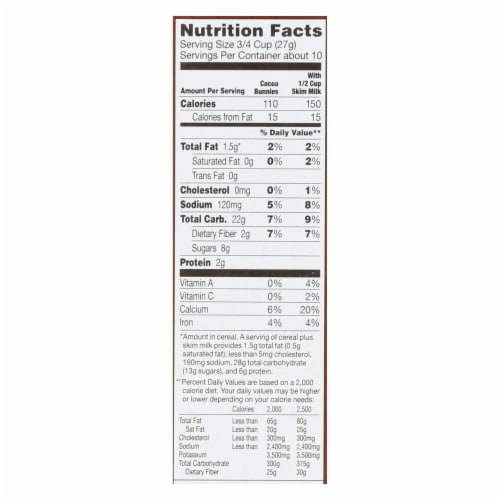 Annie's Homegrown Organic Cocoa Bunnies Oat with Corn and Rice Cereal - Case of 10 - 10 oz. Perspective: back