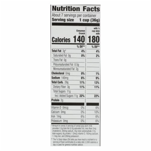 Cascadian Farm Organic Cereal - Cinnamon Crunch - Case of 10 - 9.2 oz Perspective: back