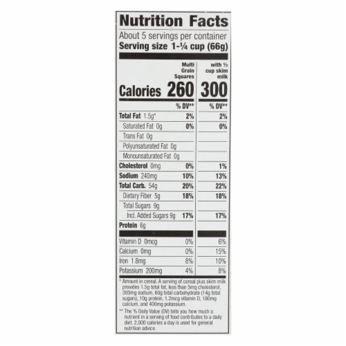 Cascadian Farm Cereal - Organic - Multi-Grain Squares - 12.3 oz - case of 10 Perspective: back