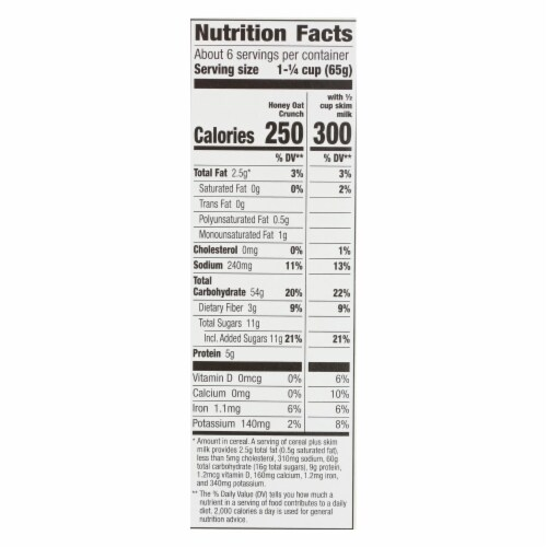Cascadian Farm Cereal - Organic Corn Flakes Whole Grain Oats And Honey - Case of 10 - 13.5 oz Perspective: back