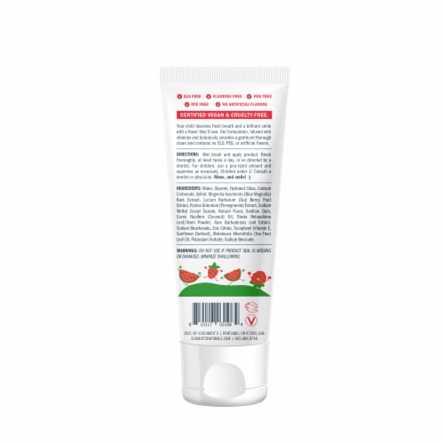 Schmidt's Kids Toothpaste - Watermelon & Strawberry Perspective: back