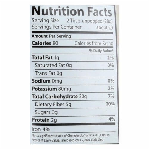 Eden Foods 100% Organic Yellow Popcorn - Case of 12 - 20 oz Perspective: back