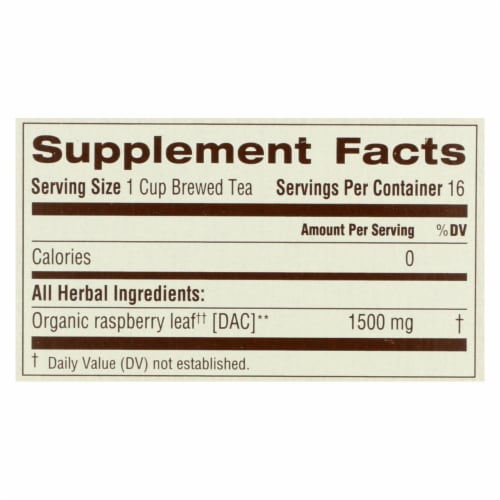 Traditional Medicinals Organic Raspberry Leaf Herbal Tea - Caffeine Free - 16 Bags Perspective: back