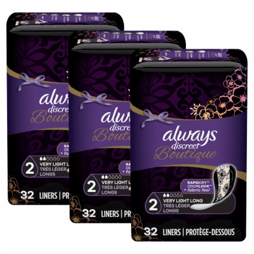 Always Discreet Boutique Very Light Absorbency Long Incontinence Liners Perspective: back