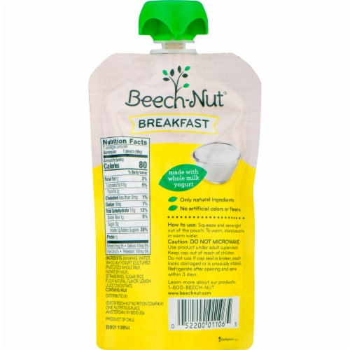 Beech-Nut Breakfast Yogurt Banana & Strawberry Blend Stage 4 Baby Food Pouches Perspective: back