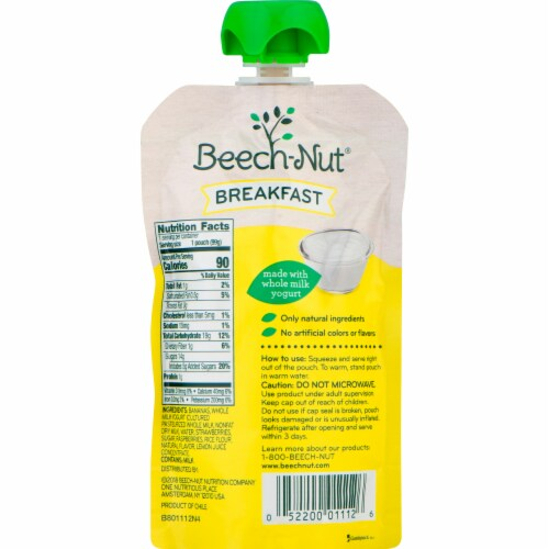 Beech-Nut Breakfast Yogurt Banana & Mixed Berry Stage 4 Baby Food Pouches Perspective: back