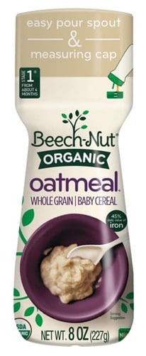 Beech-Nut Organic Whole Grain Oatmeal Stage 1 Baby Cereal Perspective: back