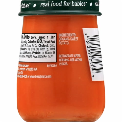 Beech-Nut Organics Just Sweet Potatoes Stage 1 Baby Food Perspective: back