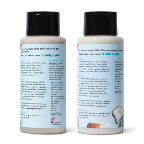 Love Beauty & Planet Sulfate-Free Coconut Water & Mimosa Flower Shampoo & Conditioner for Fine Hair Perspective: back