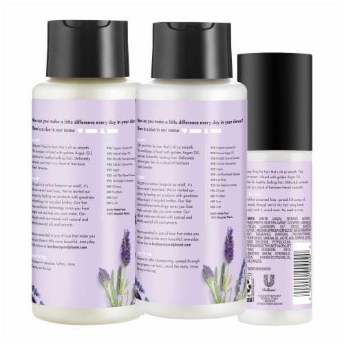 Love Beauty and Planet Argan Oil & Lavender Shampoo Conditioner and Leave-In Smoothie Cream Perspective: back