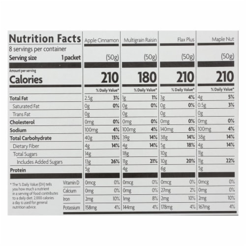Nature's Path Organic Hot Oatmeal - Variety Pack - Case of 6 - 14 oz. Perspective: back