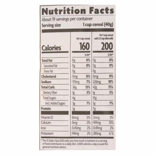 Nature's Path Organic Corn Flakes Cereal - Fruit Juice Sweetened - Case of 6 - 26.4 oz. Perspective: back