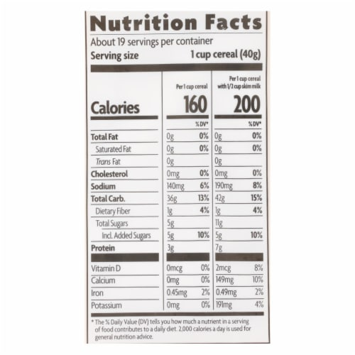 Nature's Path Organic Corn Flakes Cereal - Honey'D - Case of 6 - 26.4 oz. Perspective: back