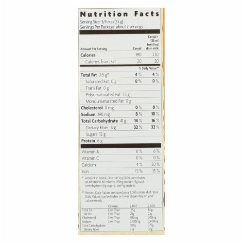 Nature's Path Organic Flax Plus Raisin Bran Cereal - Case of 12 - 14 oz. Perspective: back