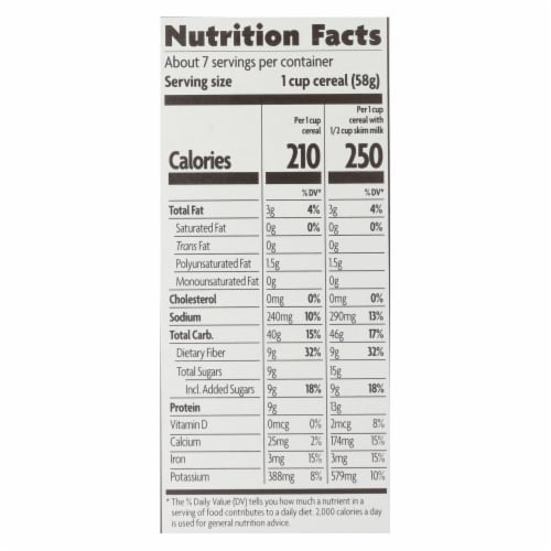 Nature's Path Organic Optimum Power Flax Cereal - Blueberry Cinnamon - Case of 12 - 14 oz. Perspective: back
