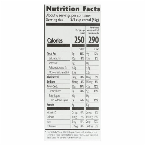 Nature's Path Organic Flax Plus Vanilla Almond Granola - Case of 12 - 11.5 oz. Perspective: back