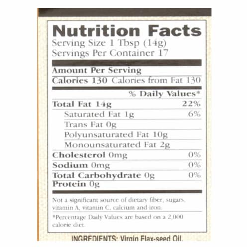 International Collection Flax-Seed Oil - Virgin - Case of 6 - 8.45 Fl oz. Perspective: back