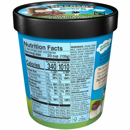 Ben & Jerry's, Chocolate Shake-It Truffles Ice Cream, Pint (8 count) Perspective: back