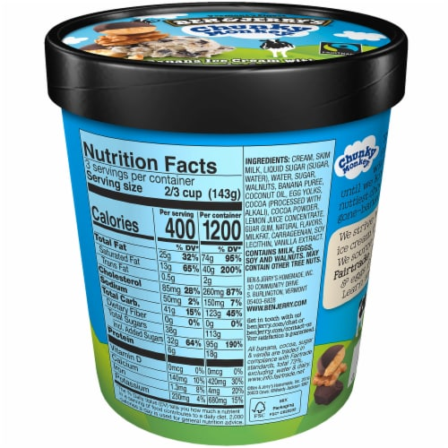 Ben & Jerry's, Chunky Monkey Ice Cream, Pint (8 Count) Perspective: back