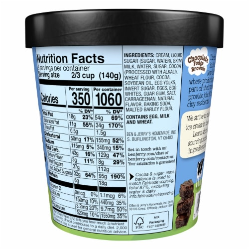 Ben & Jerry's, Chocolate Fudge Brownie Ice Cream, Pint (8 Count) Perspective: back