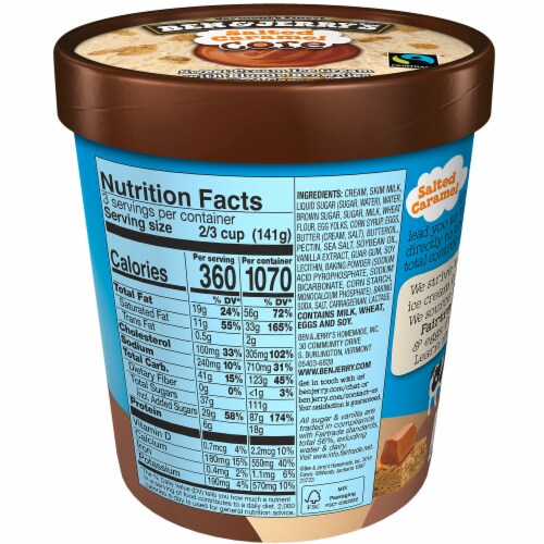 Ben & Jerry's Salted Caramel Core Ice Cream Perspective: back