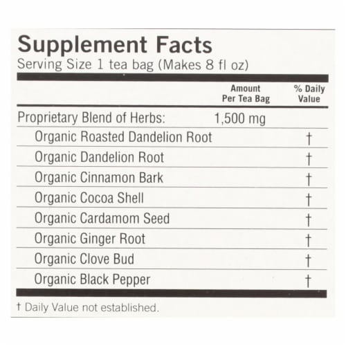 Yogi Tea - Organic - Roasted Dandelion Spice DeTox - 16 Tea Bags - 1 Case Perspective: back