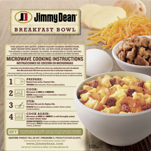 Jimmy Dean Sausage Egg & Cheese Breakfast Bowl Frozen Entree Perspective: back