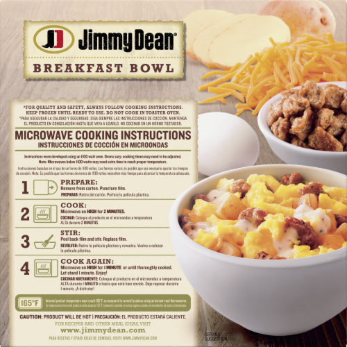 Jimmy Dean® Country Gravy Sausage Cheddar Potatoes & Egg Breakfast Bowl Frozen Entree Perspective: back