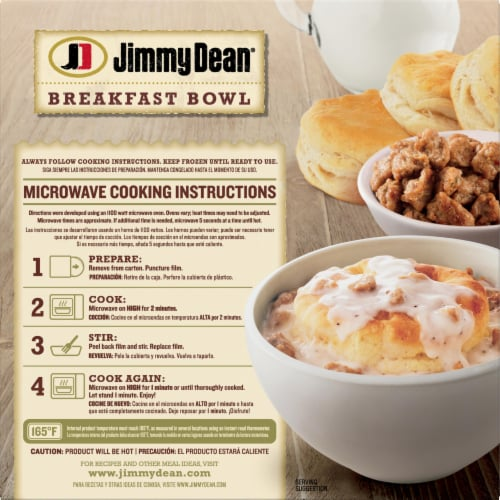 Jimmy Dean Biscuit and Sausage Gravy Breakfast Bowl Perspective: back