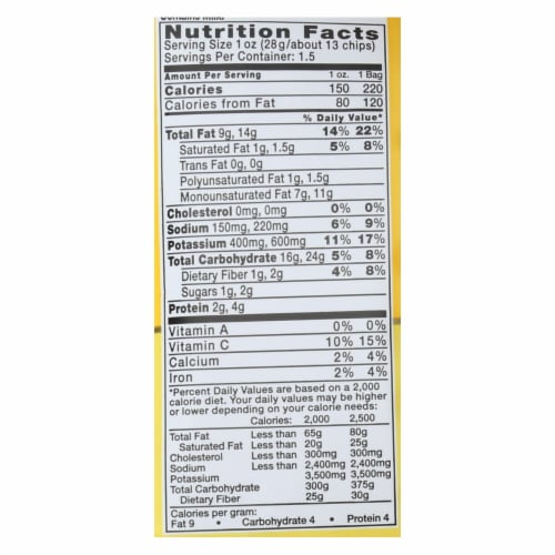 Kettle Foods New York Cheddar Potato Chips, 1.5 Ounce -- 24 per case. Perspective: back