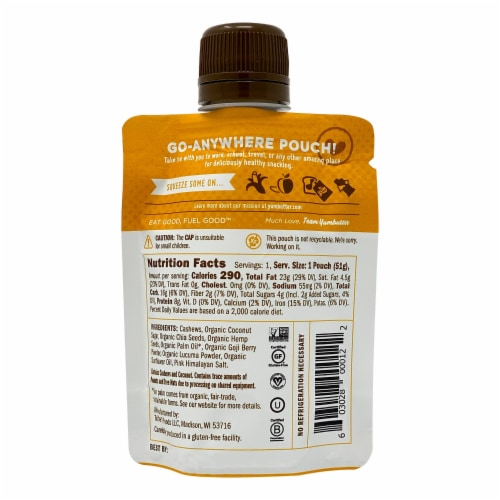 Yumbutter Superfood Cashew Butter - Mini Squeeze Packet Perspective: back