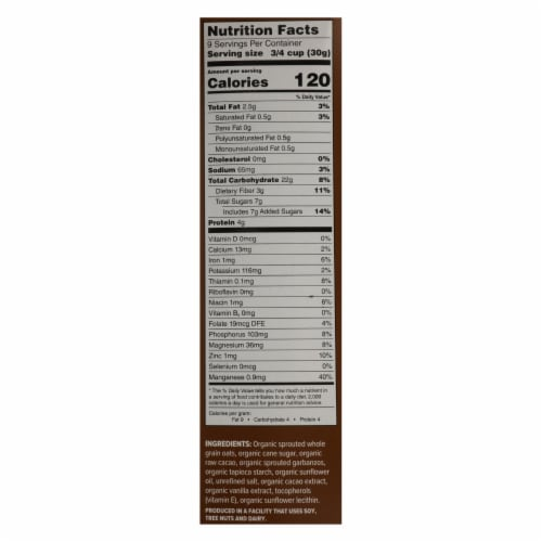 One Degree Organic Foods - Crl Sprtd Cacao O's - Case of 6 - 10 OZ Perspective: back