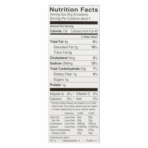 Glutino Crackers - Cheddar - Case of 6 - 4.4 oz. Perspective: back