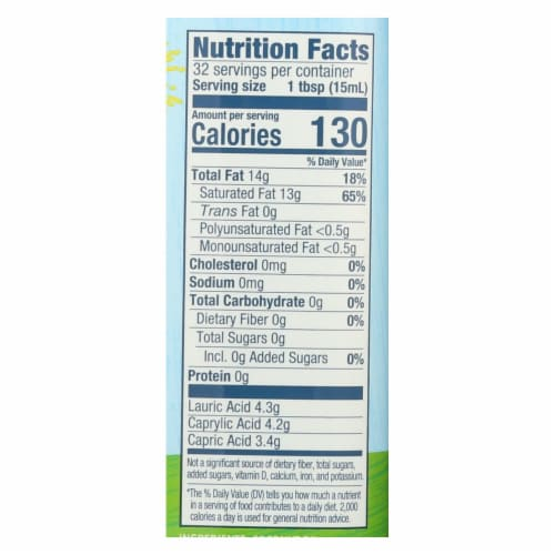 Carrington Farms Coconut Cooking Oil - Case of 6 - 16 fl oz. Perspective: back