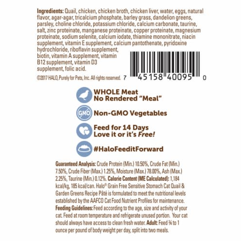 Halo Impulse Quail & Garden Greens Grain Free Natural Wet Cat Food Perspective: back