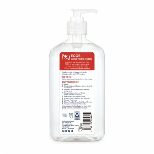 Earth Friendly Orange Blossom Hypoallergenic Hand Soap Perspective: back